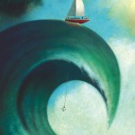 Conceptual illustration by George Schill - sailboat atop a large wave