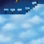 Conceptual illustration by George Schill - team building daytime sky from bricks