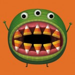 Candy corn monster Halloween card