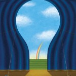 Conceptual illustration by George Schill - curtains forming light bulb shape