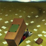 Conceptual business illustration by George Schill - man using desk as shelter