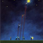 Conceptual illustration by George Schill - people climbing ladders with stars
