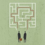 Conceptual business illustration by George Schill - speech bubbles in maze shape