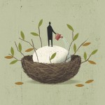 Conceptual illustration by George Schill - man watering nest egg