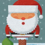 Humorous Christmas illustration by George Schill - Santa in chimney