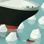Conceptual illustration by George Schill - ship with icebergs
